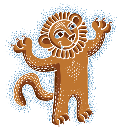 lion tail: Vector drawing of happy orange lion holding its paws up.  Illustration of cute wild animal, cool mascot can be used in graphic design.