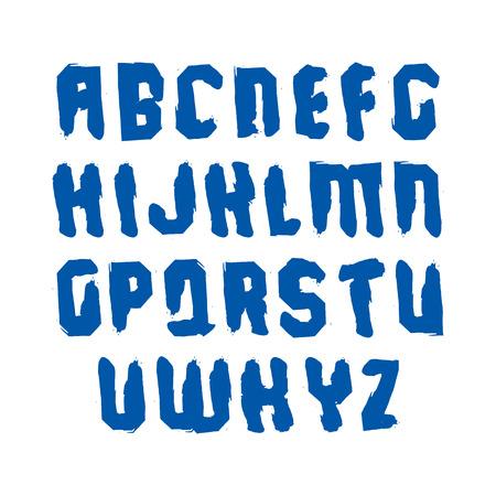 garabatos: letras may�sculas escritas a mano, cepillo vectorial dibujo mecanografiado, set pintado a mano de cartas con pinceladas.