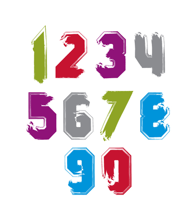 Stroked bright numbers set drawn with real ink brush, vector childish numerals collection.