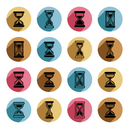 interim: High quality sand-glass vector illustrations. Set of antique classic hourglasses. Retro clocks collection. Time idea stylized icons isolated. Illustration
