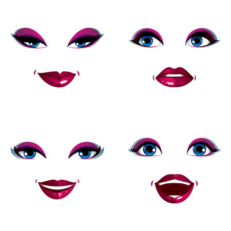 visage: Set of vector beautiful female visage with stylish makeup, eyes and lips. Women face features expressing different emotions.
