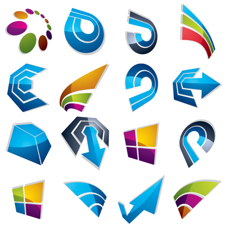 navigation pictogram: Vector 3d abstract icons set, simple corporate graphic design elements. Colorful marketing symbols set isolated on white background.