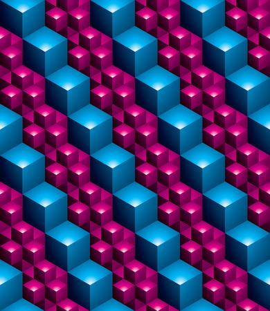 figuras abstractas: modelo multicolor continua futurista, fondo abstracto con motivos ilusoria con figuras geométricas en 3D. Colorido telón de fondo sin fisuras decorativa, se puede utilizar para el diseño y textil. Vectores