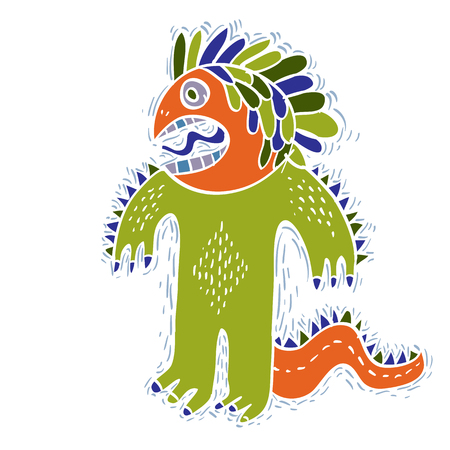 alien cool: Comic character, vector funny alien green monster. Emotional expression idea graphic symbol, design element. Illustration