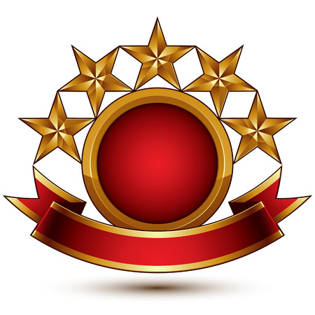 Vector glamorous round element with red filling, 3d polished five golden stars branded symbol with festive ribbon. Dimensional decorative stars, elegant shaped blazon. Eps8. Illustration