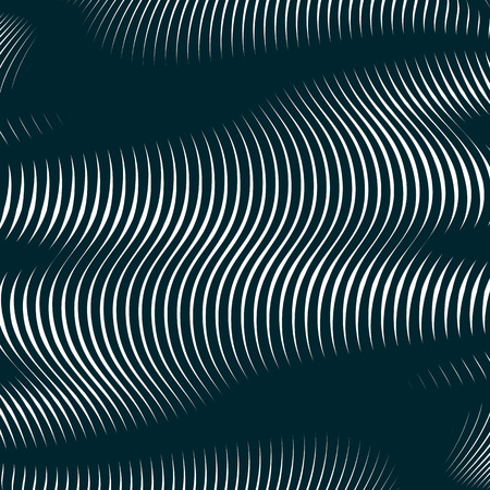 interference: Moire style, gradient optical pattern, motion effect tile. Decorative lined hypnotic contrast vector background.