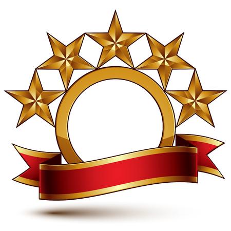 흰색 배경에 고립 된 장엄한 벡터 황금 반지는 차원이 다섯 황금 별을 연마. 축제 빨간 리본 령 브랜드의 상징입니다. 차원 광택 장식 별, 우아한 모양의 문장. EPS8.