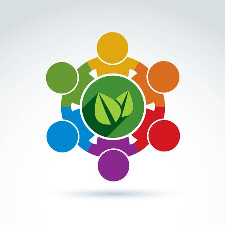 Vector colorful green leaves, international ecology association icon. Concept of environment conservation, eco friendly life idea. Vektorové ilustrace
