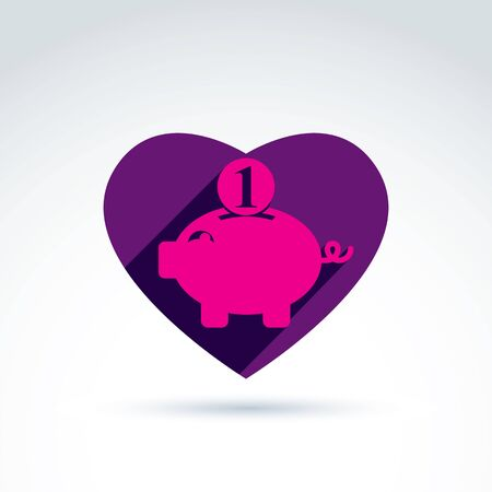piggybank: Business idea discussion concept, economics and investment theme. Vector heart with pink piggybank sign, personal savings icon.