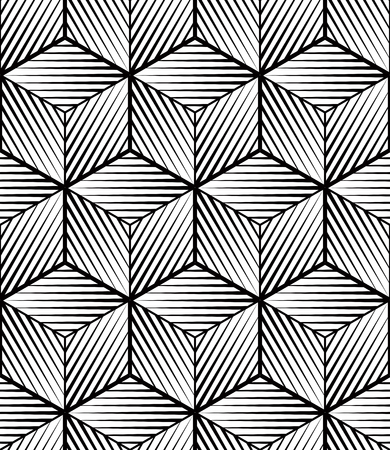 covering: Monochrome abstract interweave geometric seamless pattern. Vector black and white illusory backdrop with three-dimensional intertwine figures. Graphic contemporary covering.
