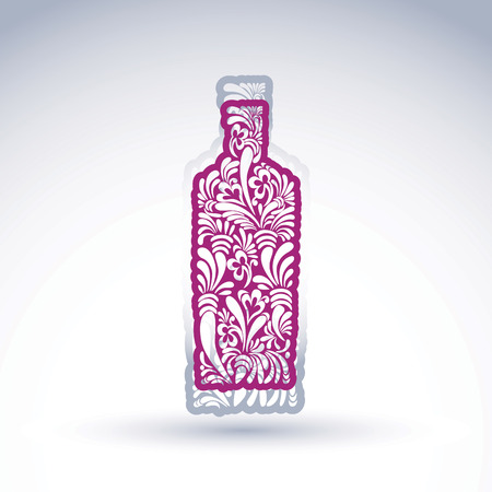 flowery: Stylized bottle decorated with ethnic flower pattern. Alcohol idea vector illustration, elegant graphic art flowery pitcher.