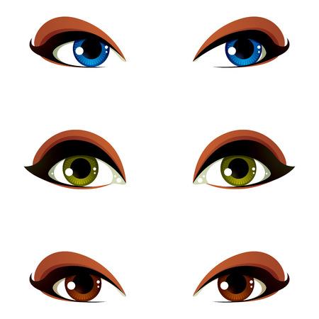 asustado: Vector colecci�n de ojos femeninos en diferentes emociones con el azul, marr�n y verde del iris del ojo. los ojos de las mujeres con estilo de maquillaje aislados sobre fondo blanco. Vectores