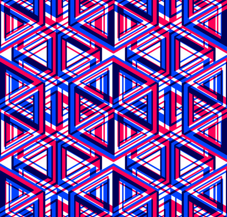 superimpose: Bright illusory abstract geometric seamless pattern with 3d geometric figures. Vector transparent superimpose backdrop.