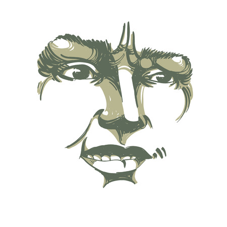 distrustful: Vector drawing of distrustful woman, face features. Black and white portrait of doubter lady, do not lie to me. Illustration