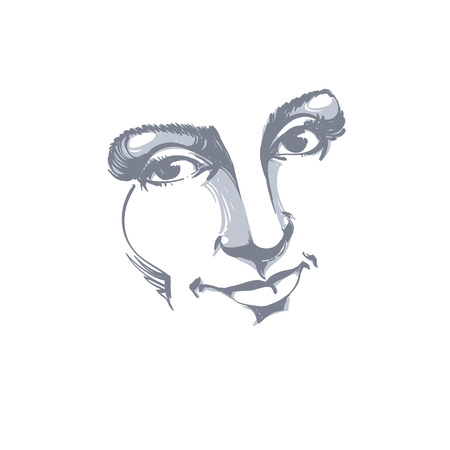 Facial expression, hand-drawn illustration of face of delicate good-looking girl with positive emotional expressions. Beautiful features of lady visage.