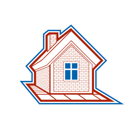 Simple village mansion icon, vector abstract house. Country house, conceptual sign best for use in graphic and web design.