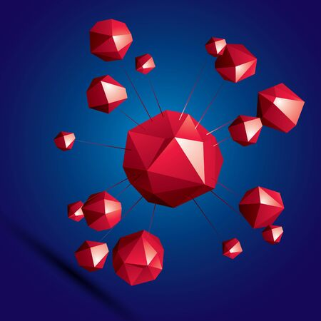 spatial: Vector digital 3d abstraction, geometric polygonal element. Spatial technological colorful shape, three-dimensional connected objects.