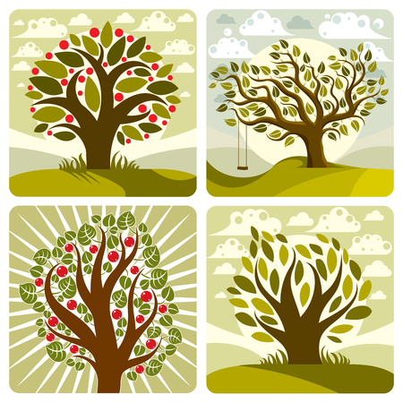 fruitful: Vector art green fruity trees with swing on beautiful cloudy spring landscape.  Setting sun with sunbeams view, season theme illustrations collection.