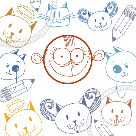 temperament: Vector art colorful drawing of happy content person, education and social network design elements isolated on white. Allegory illustration, emotions and human temperament concept.