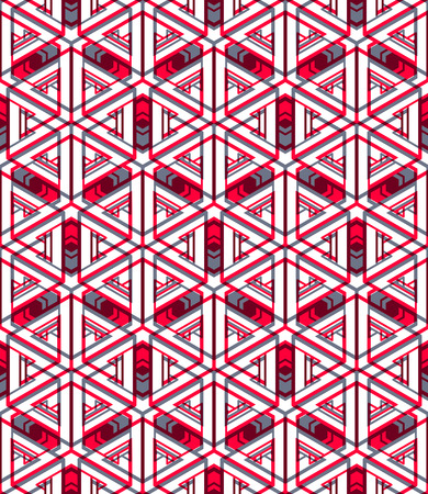 pellucid: Colored abstract interweave geometric seamless pattern, EPS10. Bright illusory backdrop with three-dimensional intertwine figures. Graphic contemporary covering.