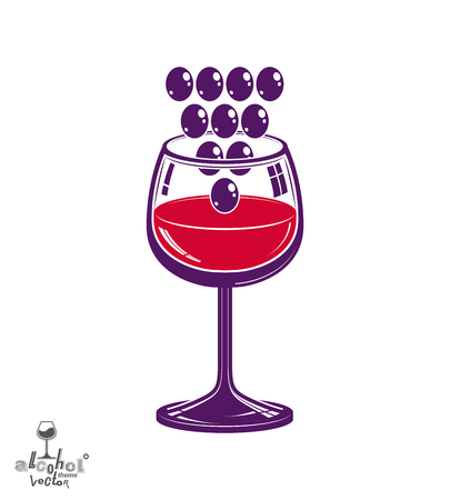 sensitivity: Winery theme vector illustration. Stylized wineglass with grapes cluster, racemation symbol best for use in advertising and graphic design. Illustration