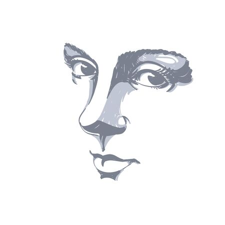 meditative: Monochrome hand-drawn silhouette of melancholic peaceful woman face, delicate features. Face expression on lady face, vector illustration.