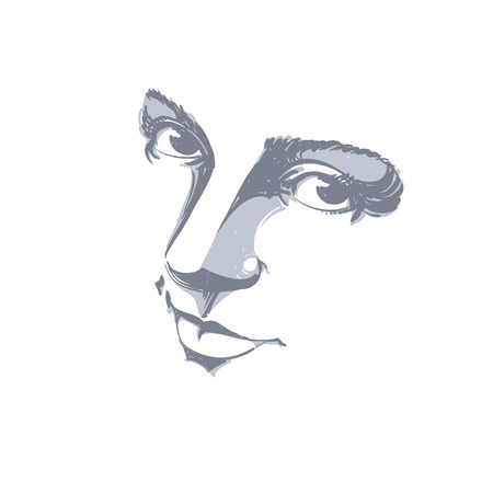 sorrowful: Monochrome silhouette of melancholic  attractive lady, face features. Hand-drawn vector illustration of woman visage, outline. Emotions theme illustration. Attractive model.