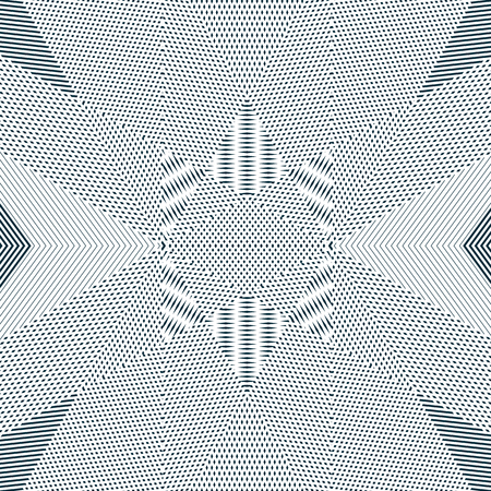 moire: Geometric background created with moire technique. Vector contrast lined tiling with visual effects.