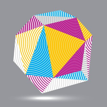stripy: 3D modern stylish abstract stripy vector construction, origami facet object constructed from different geometric parts.
