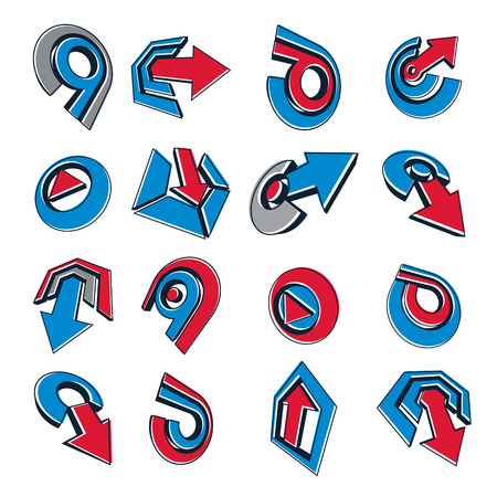 navigation pictogram: Geometric abstract vector shapes. Collection of red and blue arrows, navigation pictograms and multimedia signs, for use in web and graphic design.
