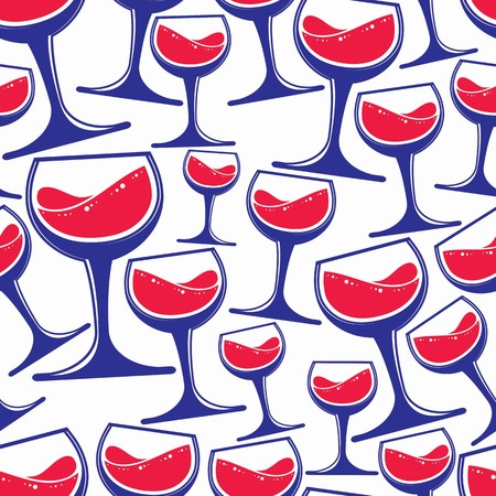 bocal: Winery theme vector seamless pattern, decorative stylish wine goblets. Wine tasting conceptual symbols, continual background for graphic design.