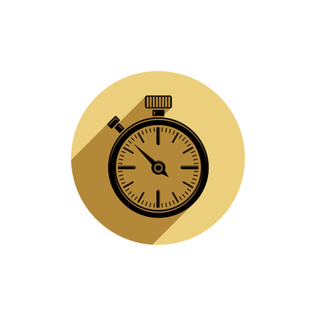 symbolic: Old-fashioned pocket watch, graphic illustration. Simple timer, classic stopwatch. Time management symbolic icon.