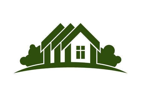 Abstract vector illustratie van de landhuizen met horizon lijn. Village thema beeld, eenvoudige gebouwen op de natuur achtergrond, grafisch embleem voor reclame en onroerend goed.