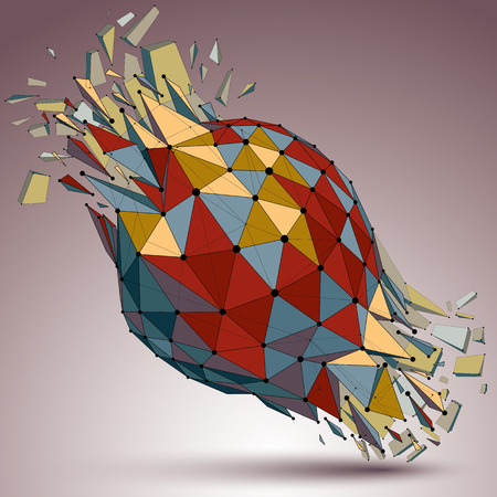 refractions: 3d vector digital wireframe object broken into different particles and refractions, colorful geometric polygonal structure with lines mesh. Low poly shattered shape, lattice form.