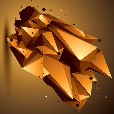 complicated: Complicated abstract golden 3D shape, vector digital lattice object. Technology theme.
