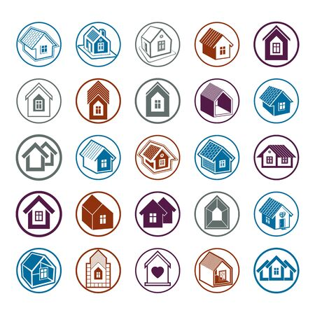 locality: Cottages collection, real estate and construction theme. Houses vector illustration