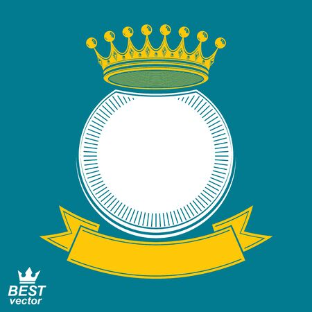 heraldic symbol: Vector ring with 3d imperial crown and festive ribbon, luxury coat of arms. Heraldic symbol, best for graphic and web design. Illustration