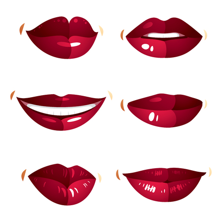 beautiful lips: Set of vector sexy female red lips expressing different emotions and isolated on white background. Face parts, shiny women lips, design elements.
