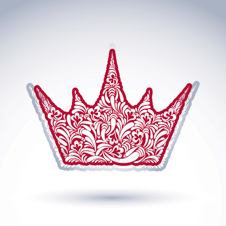 coronet: Flower-patterned decorative crown, art royal symbol. King coronet filled with abstract natural pattern, imperial theme classic vector design element. Illustration