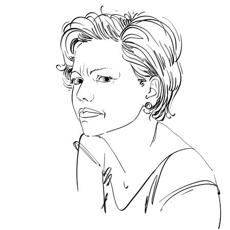 Vector portret van aantrekkelijke vrouw uiting twijfel, illustratie van goed uitziende vrouw. Persoon emotionele gezichtsuitdrukking. Stock Illustratie
