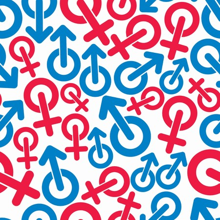 sex symbol: Gender symbols, sexual category theme seamless vector backdrop. Male and female symbols, can be used in design. Illustration