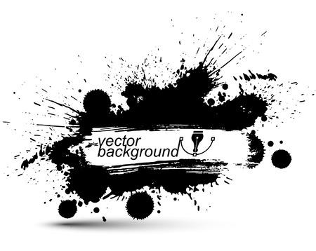 Zwart en wit vector inkt splash naadloze patroon, monochrome vuile grafische kunst herhaal achtergrond met overlap acryl vlekken, gescand en getraceerd. Vector Illustratie