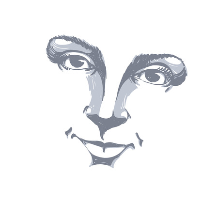 facial features: Facial expression, hand-drawn illustration of face of a girl with positive emotional expressions. Beautiful features of lady visage.