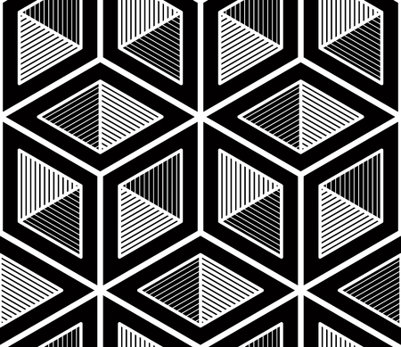 covering: Contrast black and white symmetric seamless pattern with interweave figures. Continuous geometric composition, for use in graphic design.