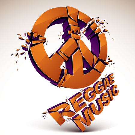 shatter: Orange 3d vector peace sign created from refractions isolated on white. Three-dimensional transform design element. Reggae music theme Illustration