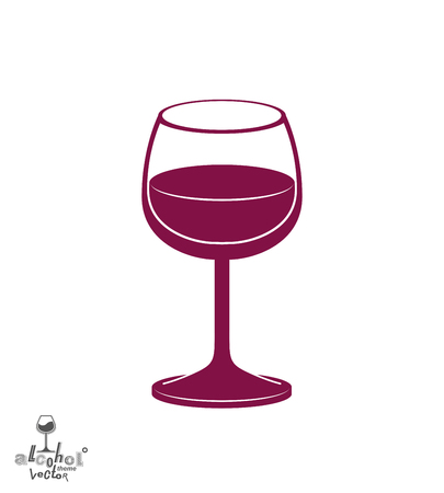 rendezvous: Classic vector goblet half full with wine, stylish alcohol theme illustration. Lifestyle graphic design element - romantic rendezvous idea, eps8.