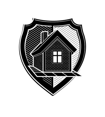 blazonry: Property protection idea, stylized heraldic symbol with classic house. Real estate agency vector graphic element, conceptual shield, can be used in web design.