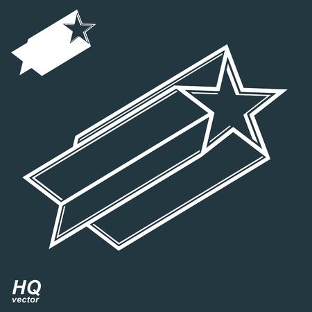 pentagonal: Vector celestial object, pentagonal comet star illustration. Graphical stylized comet tail. Military retro design element. Illustration