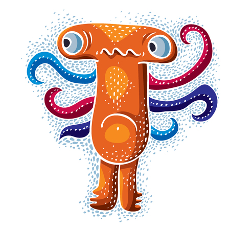eccentric: Character sad monster vector flat illustration, cute orange mutant. Drawing of weird beast, emotional expression.