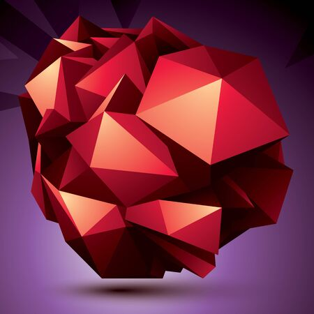 asymmetric: Abstract asymmetric vector red object constructed from different elements, complicated geometric shape. Illustration